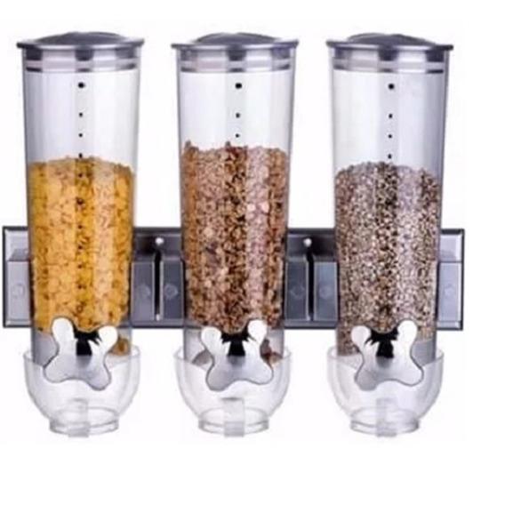 Dispenser De Parede Triplo Alimentos Cereais Hotel Cozinha