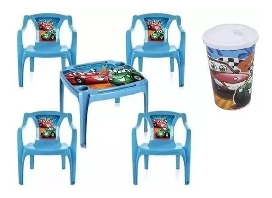 Mesa +brinde Copos Mesinha Infantil 4 Cadeiras Azul Menino