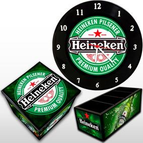 Heineken Kit: Relógio De Parede + Caixa Box + Porta Controle