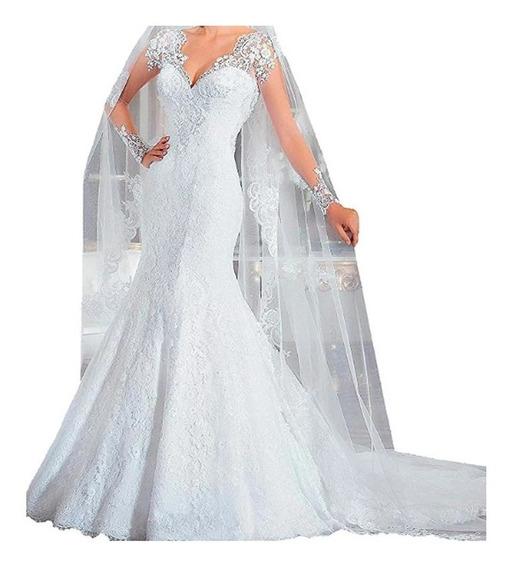 Vestido Noiva Sereia Renda Bordado Manga Longa Bn 107