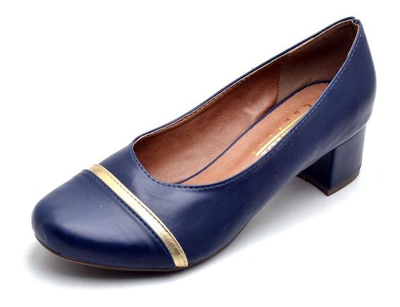 Sapato Scarpin Feminino Salto Baixo Com Detalhe Dourado