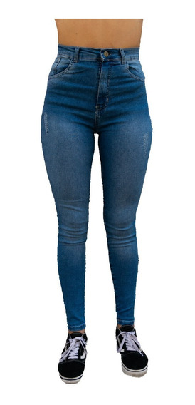 Pantalón Jeans Con Desgaste A Los Costados Talles Reales