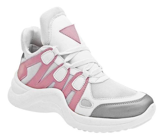 Tenis De Mujer Blanco Rosa Plata 090-489