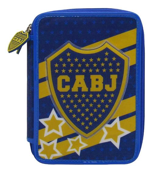 Cartuchera Boca Juniors Escolar Pvc 2 Pisos Licencia Oficial
