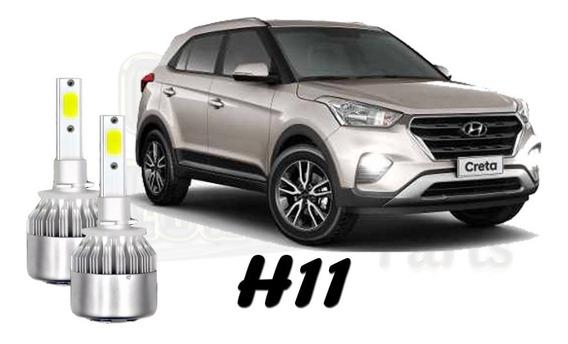 Par Lâmpadas Super Ultra Led H11 Milha Hyundai Creta 12000l