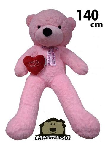 Imagem 1 de 10 de Urso Rosa Apaixonado 1,4 M Presente Natal Namorada + Coração