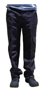 Pantalón 100% Algodón Tipo Cargo Azul Marino 4 Bolsas Profun