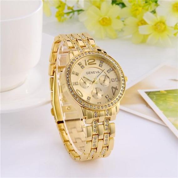 Relógio De Pulso Feminino Brilhantes Geneva Original Dourado