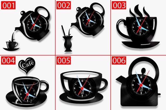 Relógio De Parede Cozinha Bule Xícara Caneca Café