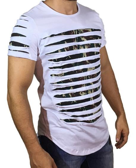 Camisa Oversized Longline Escaping Labirinto Camuflada