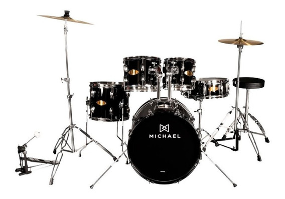Bateria Michael Bumbo 22 Audition Cor Black Completa - Promo