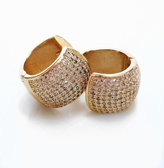 Brinco Feminino Argola Cristal Banhado Ouro 18k Semi Joia