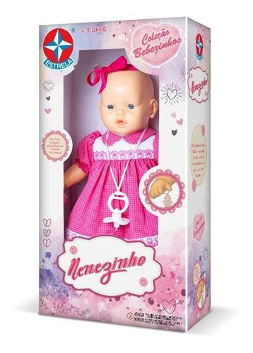 Boneca Nenezinho Vestido Rosa Estrela 44 Cm Bonellihq H18