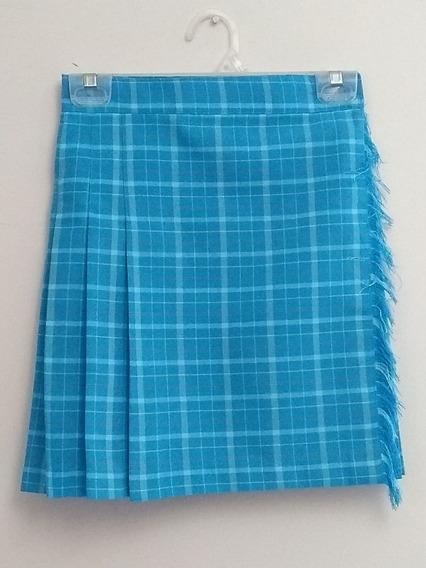 Falda Azul Cielo, Escoces, Cruzada Con Fleco