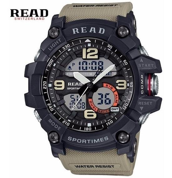 Relógio De Pulso Masculino Militar Cáqui Esportivo Read