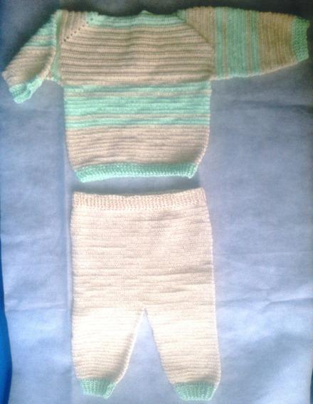 Conjunto Casaco E Calça Para Bebê Em Crochê