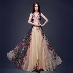 Vestido De Noche De Flores Para La Fiesta Pará Mujer Regalo