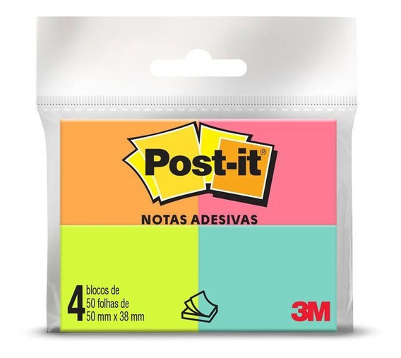 Post-it 3m 653 38mmx50mm Com 4 Cores 50 Folhas 3m 22670