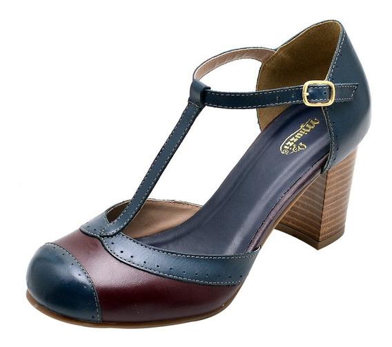 Sandália Vintage Feminina Couro Legítimo Retro Azul Marinho