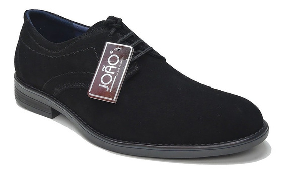 Zapato Casual Cuero Gamuza Negro Calzados Perfectos Joao