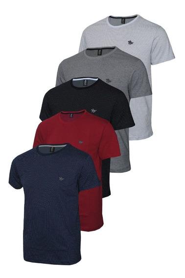 Conjunto Com 05 Camisetas Malha Pontilhada E Logo Em Metal