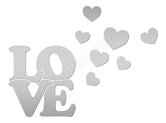 Acrílico Espelhado Decorativo Love Com Corações