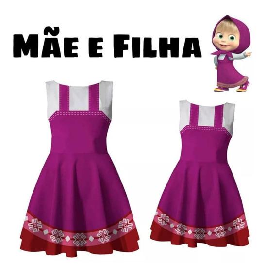 Kit De Vestido Tal Mãe Tal Filha Masha Modelo Boneca