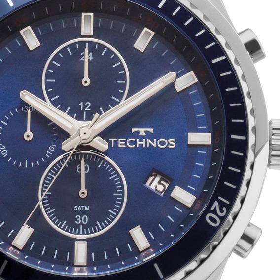 Relogio Technos Prata Aço Masculino Fundo Azul Skymaster Js15ff/1a Original