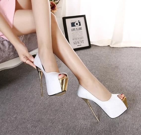 Sapato Plataforma Feminino Branco Importado - Frete Grátis