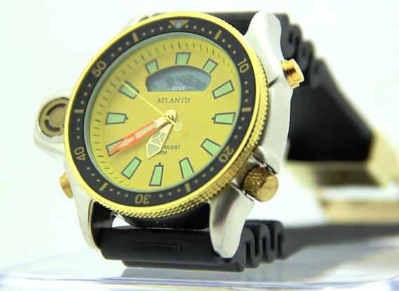 Relogio Atlantis G3220 Serie Ouro Aqualand Amarelo =citzen