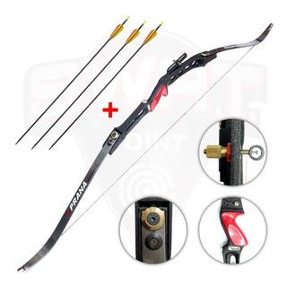 Arco Recurvo Profesional Prana Td5 Regulable 3 Flechas Fibra