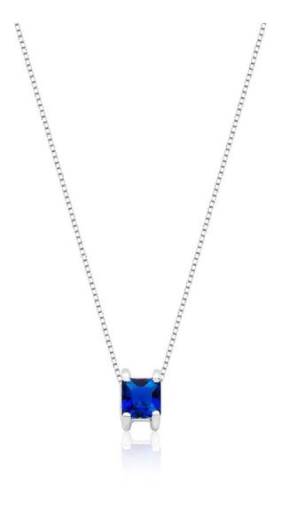 Colar De Prata Carre Azul Safira Prata Rara