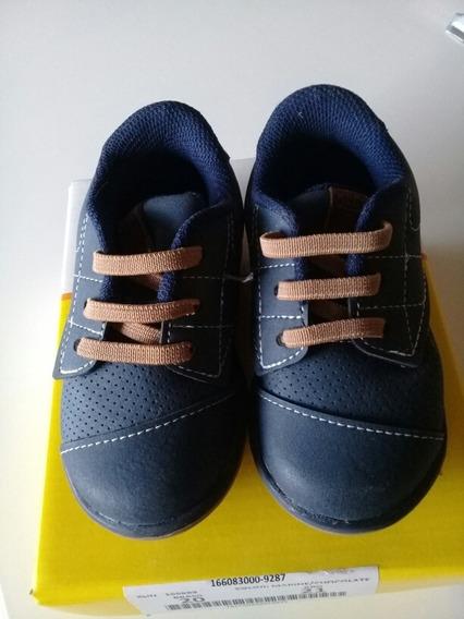 Zapatos De Nene. Talle 20. Color Azul Y Marron . Marca Klin.