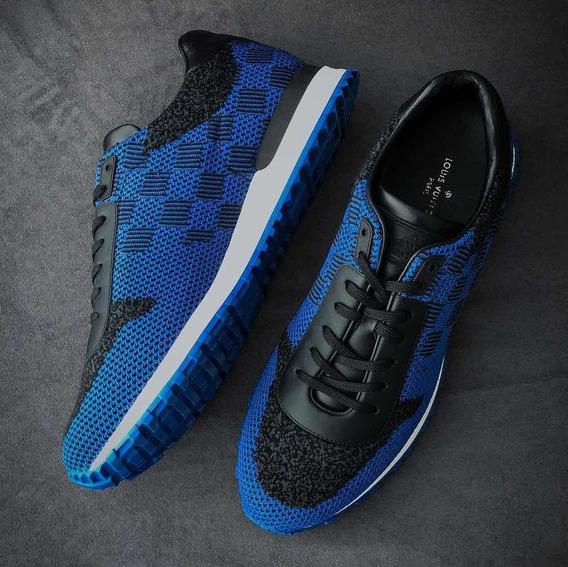 Tenis Masculino Louis Vuitton Run Away Damier Azul Original