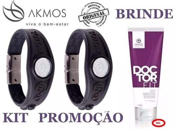 2 Pulseira Akmos Original 2018 + Brinde Doctor + Caixa