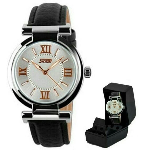Relógio Feminino Skmei 9075 Luxo Original Pulseira D Couro