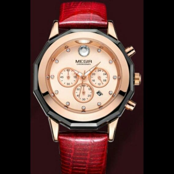 Relógio Feminino Megir 2042 Luxo Original Nobreza P Couro