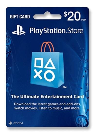 Tarjeta Psn U$20 Usa Ps3 Ps4 | Entrega Inmediata - Gamer24hs