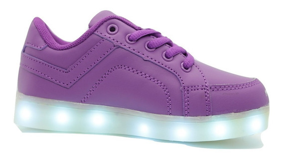 Zapatillas Luces Led Color Violeta Usb Recargables Envio