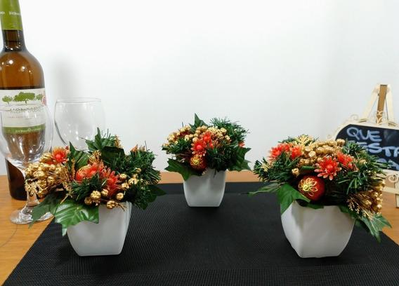 3 Arranjos De Natal - Decoração Natalina Papai Noel Decoracao Mesas