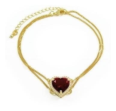 Pulseira De Ouro Coração Zircônia Vermelha E Micro Zircônias