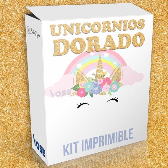 Kit Premiun Unicornios Dorado + Envío Automático Inmediato