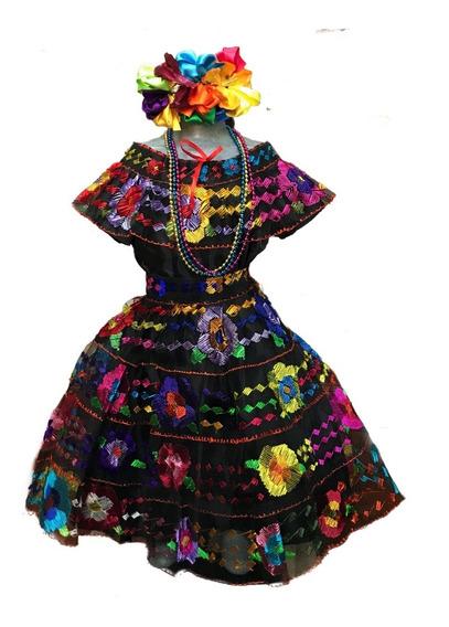 Vestido Regional Chiapas 4 Olanes (4-5 Años).bordado A Mano.