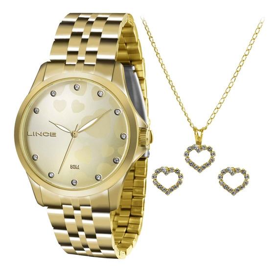 Kit Relógio Lince Feminino+gargantilha E Brinco Lrgj064lkt31