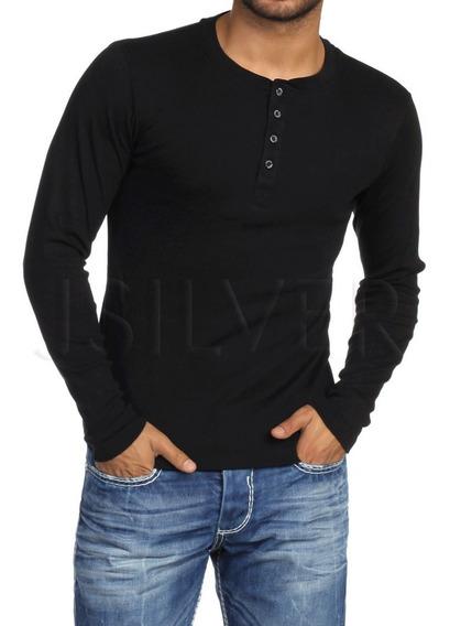 Kit 3 Camiseta Henley Slim Fit Manga Longa - Frete Grátis