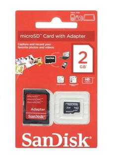 Cartão Micro Sd 2gb Sandisk Adaptador Sd Kit Com 10 Unidade