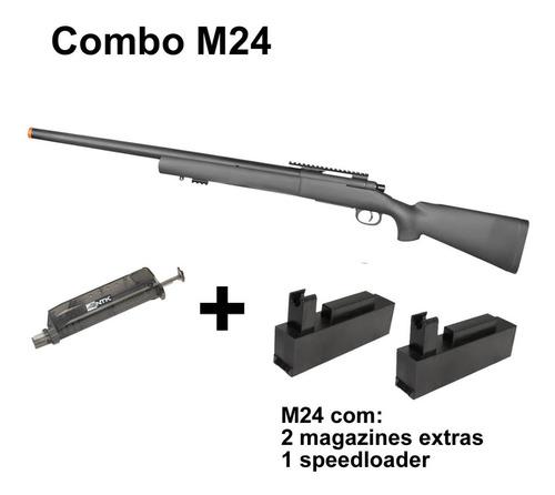 Imagem 1 de 6 de Rifle Airsoft Rossi Sniper M24 Storm C/ 2 Mags Extras Kpp