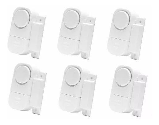 Kit 6 Alarmes Contra Invasão Sonoro Porta Janela Sem Fios