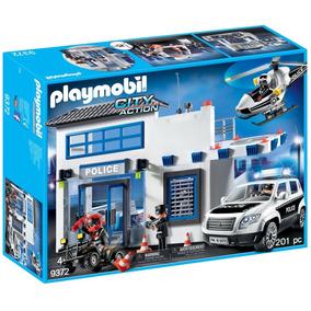 Brinquedo Playmobil Posto Policial Carro E Helicóptero 1760