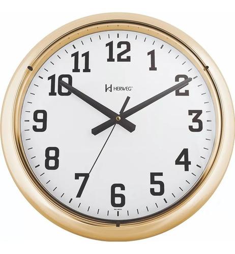 Imagem 1 de 1 de Relógio De Parede Herweg Dourado Grande 40 Cm 6128 - 029